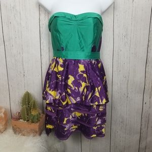 BCBGMAXAZRIA real, purple, and yellow dress size 4